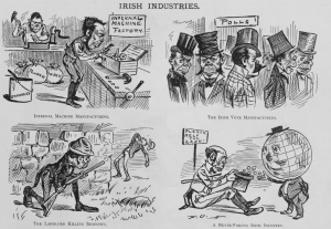 Depictions of my huge Irish head, 1881. Note that the Irish have always been a beloved and revered people in this nation.