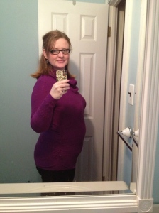 I didn't have any good photos of bungee-jumping fetuses, so here's my dimly-lit 21-week bump pic instead. Now I am every other pregnancy blog in the world. Look upon my bump, ye mighty, and despair!