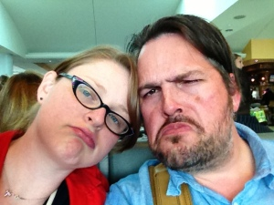 Me and Andy at the airport on our way out of Florida. We're sad because vacation is over, and also because it's time to put on my compression socks.