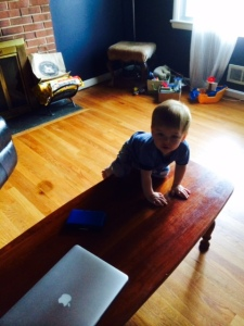 Just because you can crawl up onto and jump off of the coffee table doesn't mean you should. Make better life choices, son.