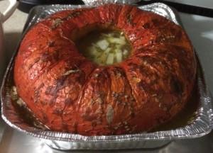 Pumpkin soup baked in a pumpkin. Boom.