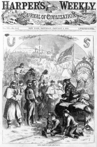 January 3, 1863 cover of Harper's Weekly, illustrated by Thomas Nast. Public domain via Wikimedia Commons.